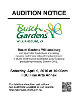 Auditions for All for One – Busch Gardens – SparkyJax