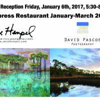 Artist, Anne Hempel and photographer, David Pascoe at Cypress Restaurant