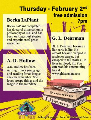 Literary Night featuring G.L. Dearman, Becka LaPlant, and A.D. Hollow