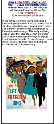 Sing A New Song: Jews, Music, and The Civil Rights Movement