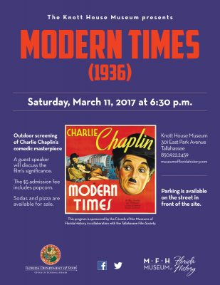 Modern Times (1936) outdoor screening at the Knott House Museum