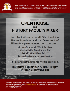 Open House and History Student/Faculty Mixer