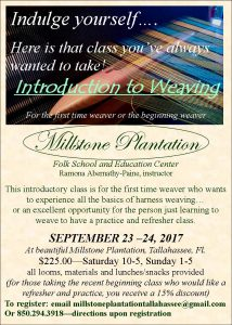 Weaving classes at Millstone