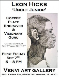 Leon Hicks: Uncle Junior: Copperplating Engraver, Art Opening