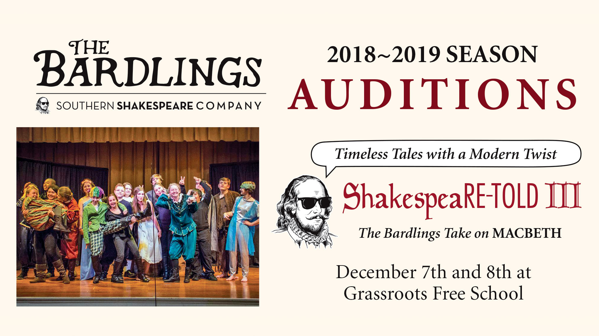 Auditions for The Bardlings presented by Southern Shakespeare