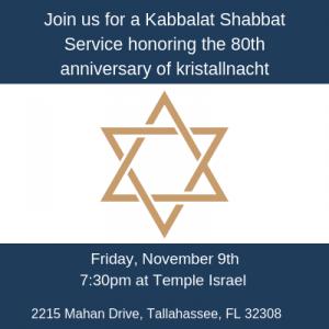 Shabbat Service: 80th Anniversary of Kristallnacht...
