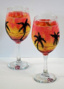 Sunset Wine Glass Painting