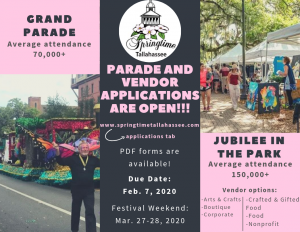 2020 Springtime Tallahassee Festival - Call for Ve...