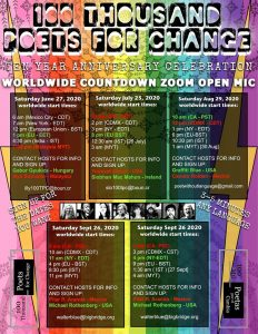 100 Thousand Poets for Change 10 Year Anniversary Open Mic Initiative