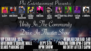 Phi Entertainment presents the Unity in the Community Drive In Theater Showcase