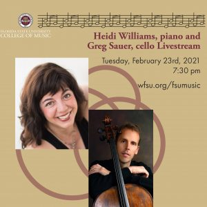 Faculty Chamber Recital - Heidi Louise Williams, piano and Gregory Sauer, cello