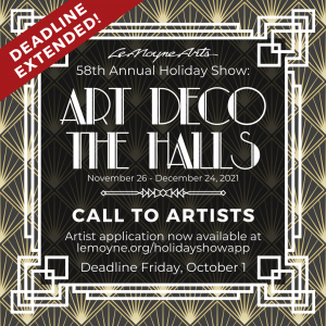 """DEADLINE EXTENDED 58th Annual LeMoyne Arts Holiday Show: """"Art Deco the Halls"""" Call to Artists"""